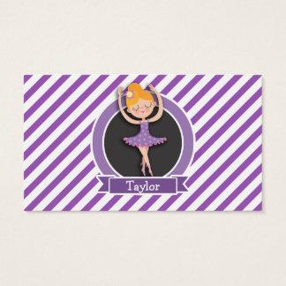 Girl Ballet Dancer; Ballerina; Purple & White Business Card