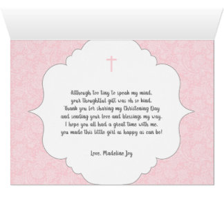 Girl Baptism poem thank you note with photo Card