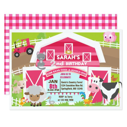Girl barnyard invitation - Farm Birthday