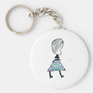 Girl Basic Round Button Keychain