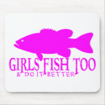 GIRL BASS FISHING MOUSE PAD