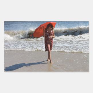 Girl Beach Umbrella Photography Sticker