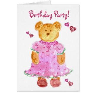 Girl Bear Kids Birthday Party Invitation