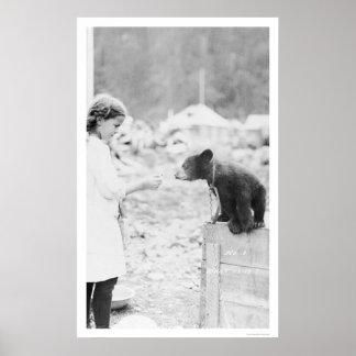 Girl & Bear Seward, Alaska 1912 Poster