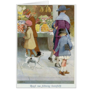 Girl Being Followed by a Dog, Card