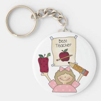 Girl Best Teacher Basic Round Button Keychain