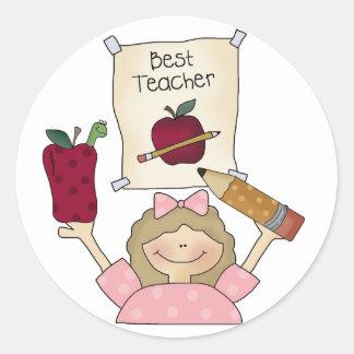 Girl Best Teacher Round Sticker