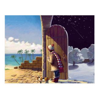 Girl Between Summer and Winter Postcard