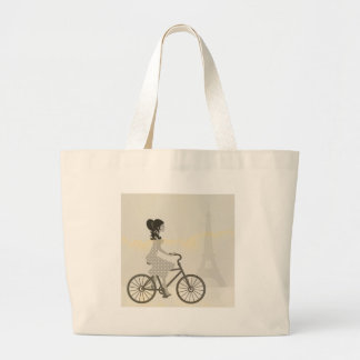 Girl Bicycle in Paris, Woman Cycling eiffel tower Large Tote Bag