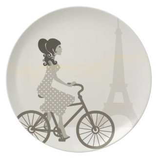 Girl Bicycle in Paris, Woman Cycling eiffel tower Plate