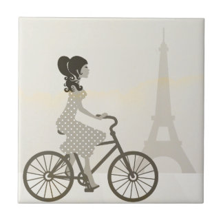Girl Bicycle in Paris, Woman Cycling eiffel tower Tile