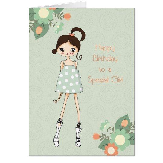 Girl Birthday, Brunette, Sage Green Floral Card
