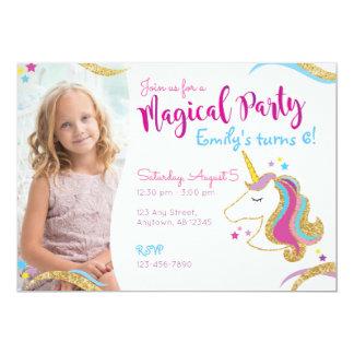 Girl Birthday Glitter Unicorn Magical Invitation