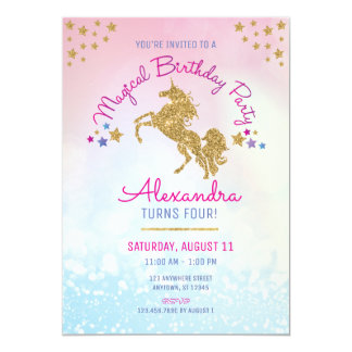 Girl Birthday Pink Gold Unicorn Glitter Invitation