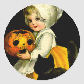 Girl & Black Cat Classic Round Sticker