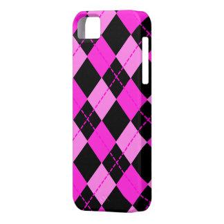 Girl Black &  Pink Argyle Pattern iPhone 5 Case