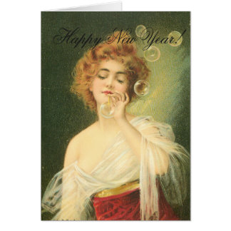 Girl Blowing Bubbles Happy New Year Card