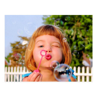 Girl Blowing Bubbles Postcard
