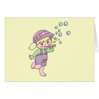 Girl Blowing Bubbles Tshirts and Gifts Card