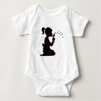 Girl Blowing on Dandelion silhouette Baby Bodysuit