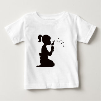 Girl Blowing on Dandelion silhouette Baby T-Shirt