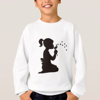 Girl Blowing on Dandelion silhouette Sweatshirt
