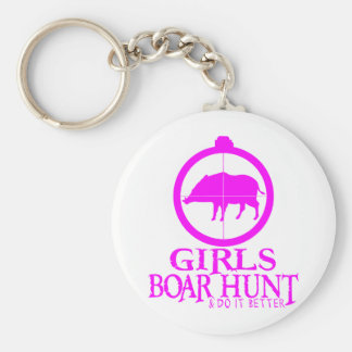 GIRL BOAR HUNTING BASIC ROUND BUTTON KEYCHAIN