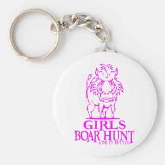 GIRL BOAR HUNTING BASIC ROUND BUTTON KEYCHAIN