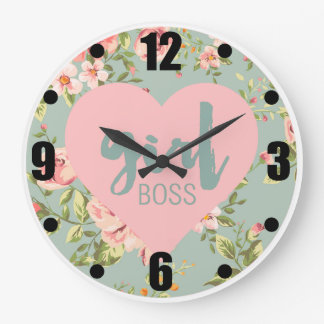 Girl Boss Pink and Blue Floral Heart Pattern Large Clock