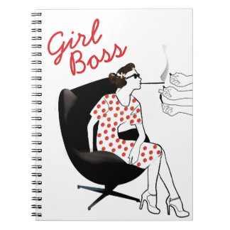 Girl Boss Vintage Style Woman Notebook