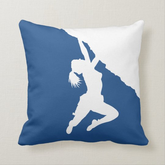 girl bouldering throw pillow