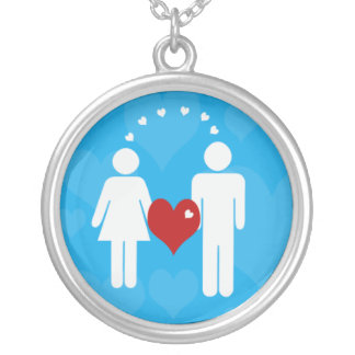 Girl + Boy Love Silver Plated Necklace