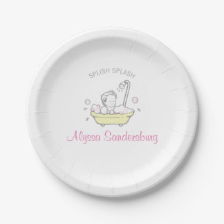 Girl Bubble Bath Baby Shower Paper Plate