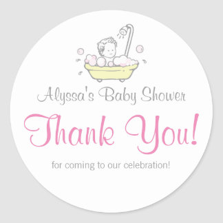 Girl Bubble Bath Baby Shower Thank You Stickers