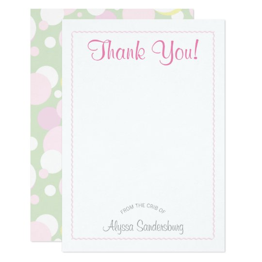 Girl Bubbles Baby Shower Thank You Card