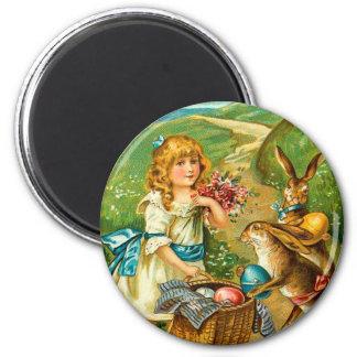 Girl & Bunnies Floral Vintage Easter Landscape Magnet