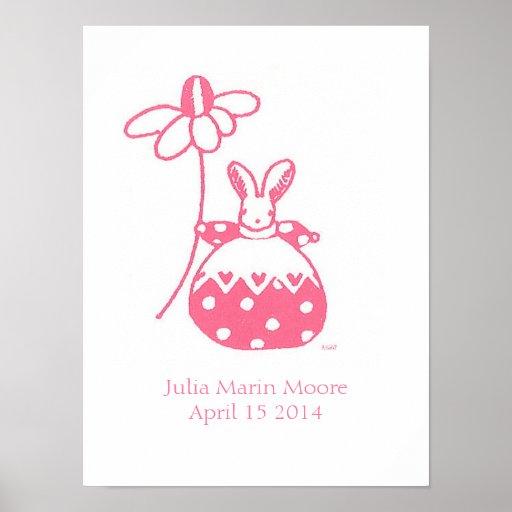 Girl Bunny birthday poster