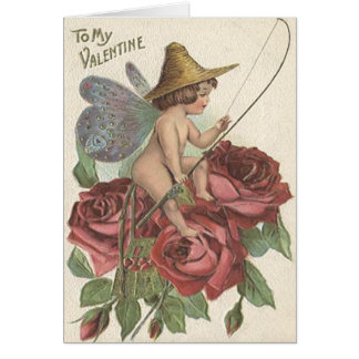 Girl Butterfly Wings Fishing Reel Rose Greeting Card