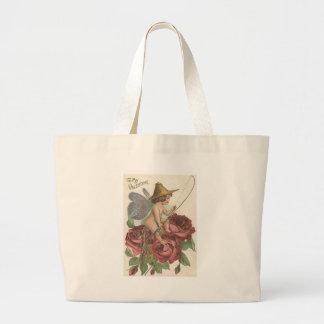 Girl Butterfly Wings Fishing Reel Rose Jumbo Tote Bag