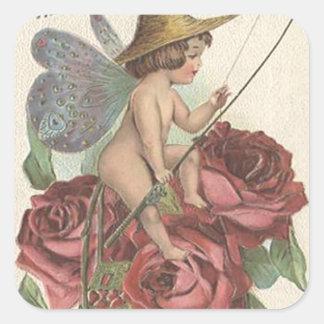 Girl Butterfly Wings Fishing Reel Rose Square Sticker