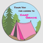 Girl Camping Birthday Party Favour Sticker