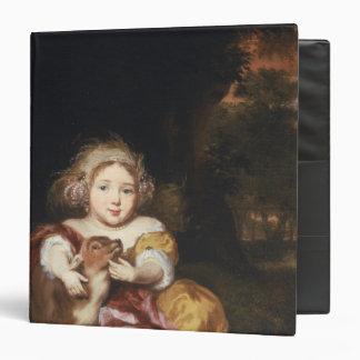 Girl Caressing a Fawn Vinyl Binder