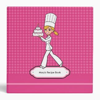 Girl Cartoon Baking Cake Recipe Binder