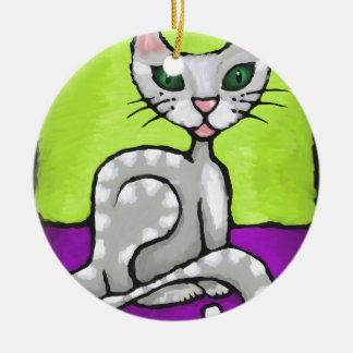 girl cat ceramic ornament