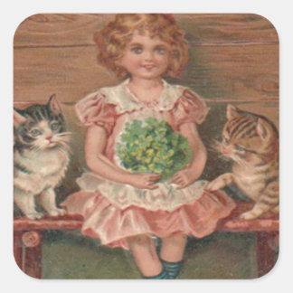 Girl Cat Kitten Flowers Birthday Square Sticker