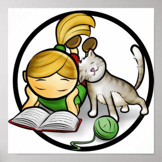 Girl & Cat poster