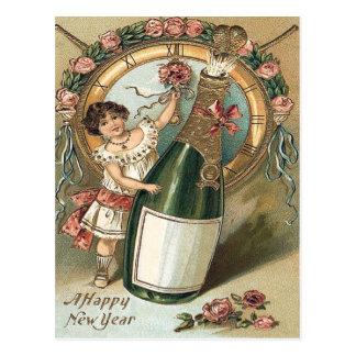 Girl Champagne Bottle Rose Clock Postcard