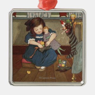 Girl Checking her Shoes Full of Goodies Silver-Colored Square Ornament
