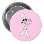Girl Chef Print 3 Inch Round Button