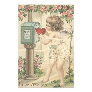 Girl Cherub Heart Cupid Mailbox Valentine Photo Print